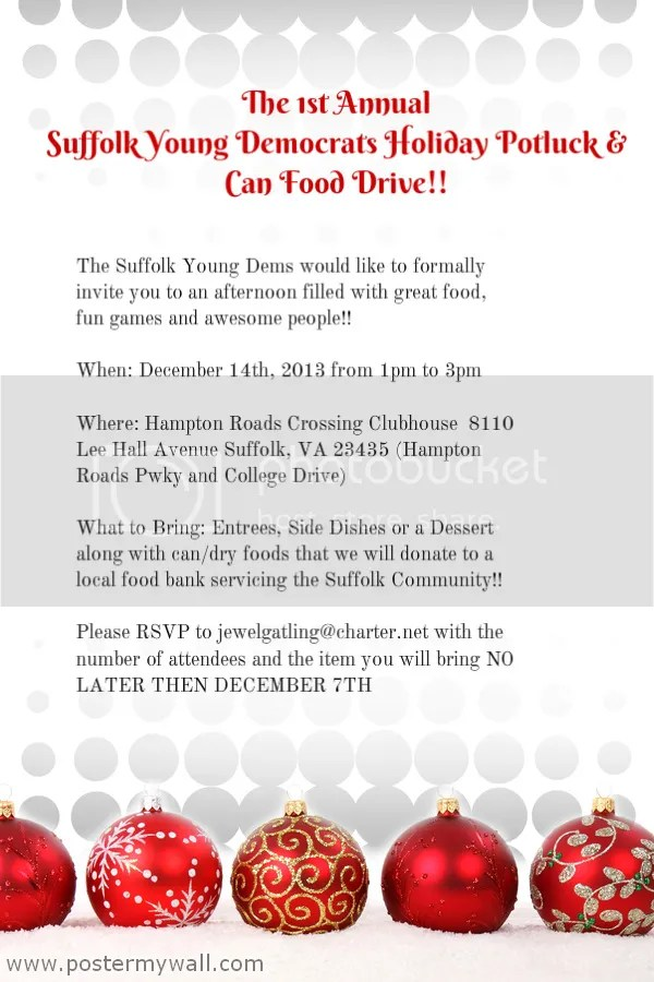 Suffolk Young Dems Holiday Potluck Poster