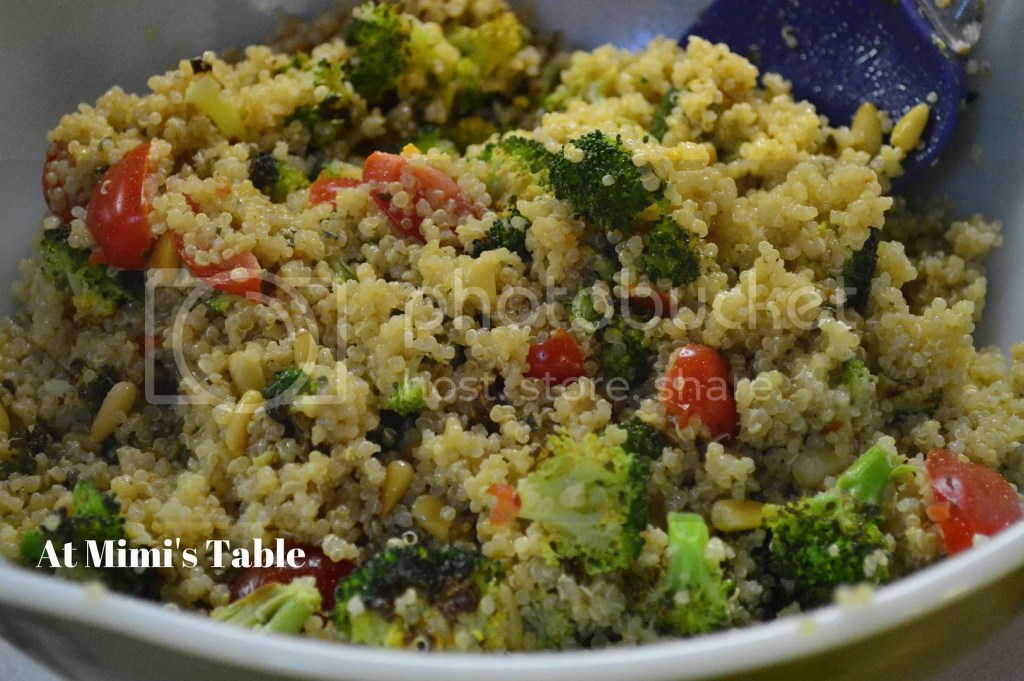 roasted broccoli quinoa salad pignoli tomatoes