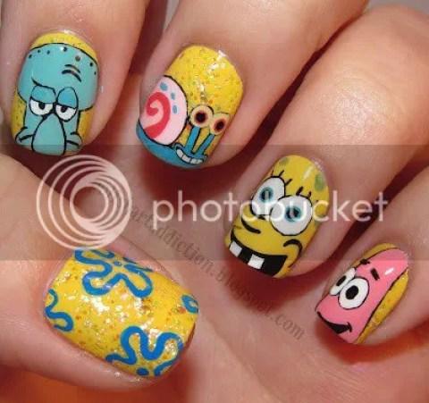 Spongebob Square Pants nail art