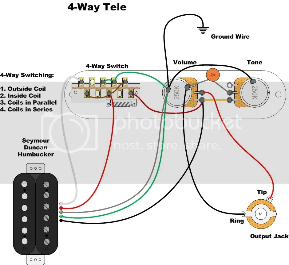 ok i found a diagram for wiring a 4 way tele switch to do this this isn t mine and as soon as i figure out who s it is i ll put in their name  [ 940 x 864 Pixel ]