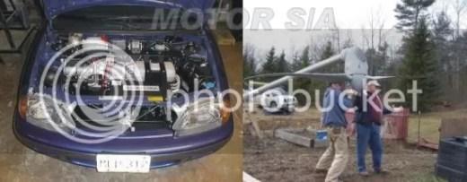 Motor elétrico adaptado - aerogerador residencial sendo instalado