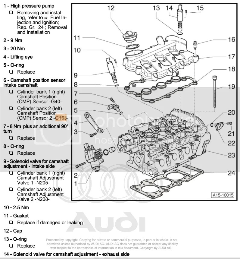 Audi A6 2005 Camshaft Position Sensor Location