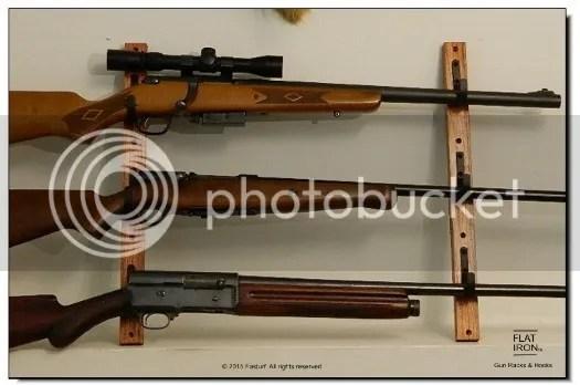 Oak and Metal 3 Place Gun Rack Rifle Shotgun Wall Mount