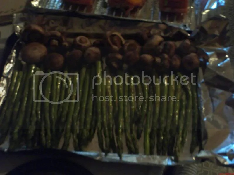The asparagus and mushrooms ready to go in the oven.