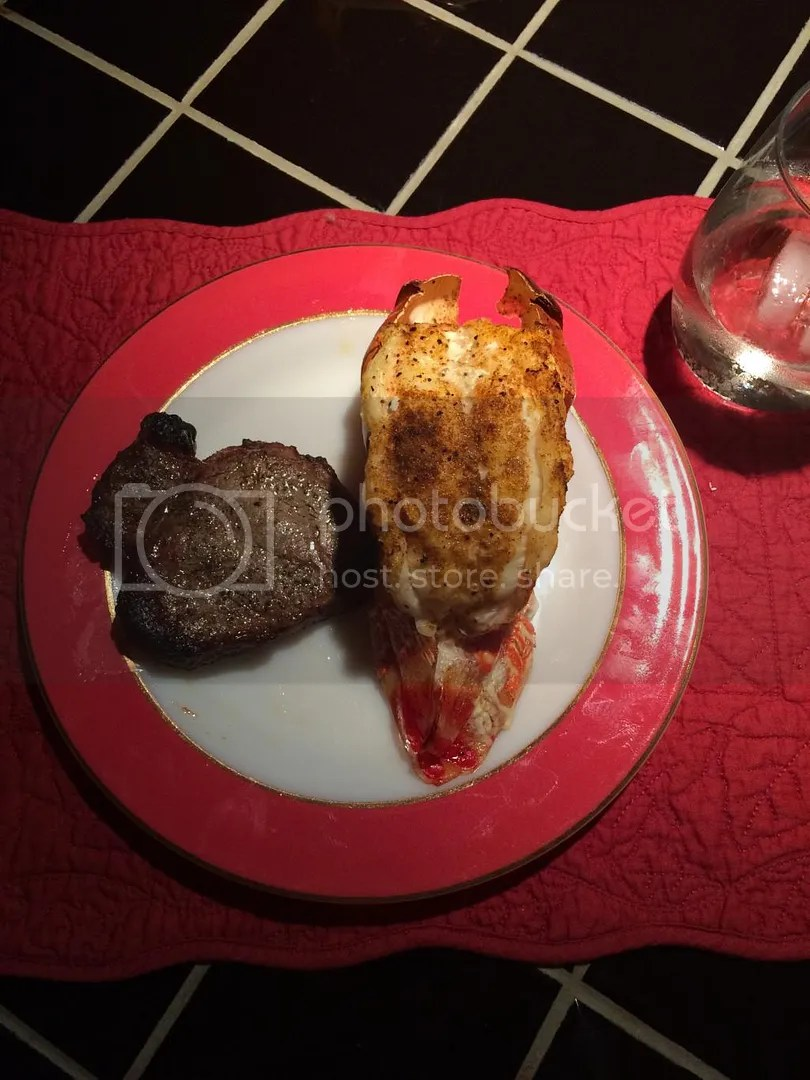 Surf and Turf Christmas Dinner: Broiled Beef Tenderloin and Lobster Tail