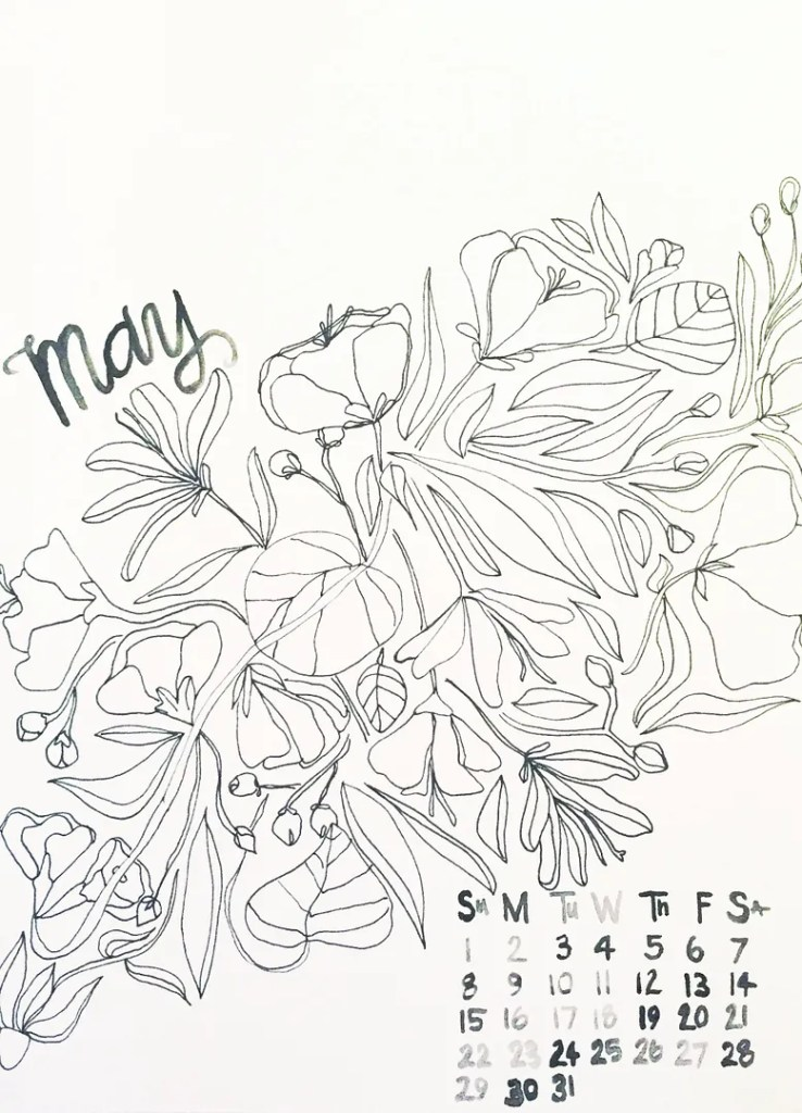 printable may calendar coloring book free