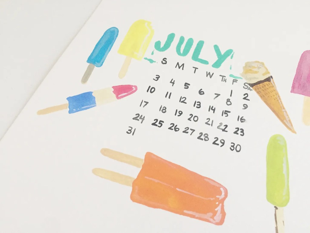 july goals printable calendar
