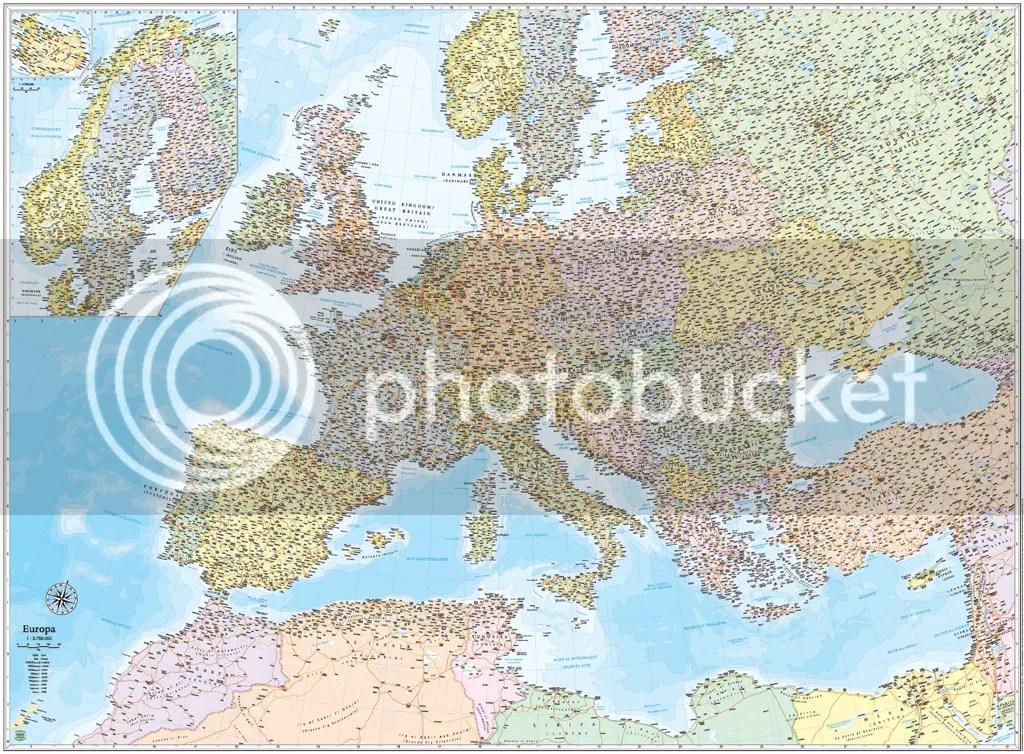 EUROPA CARTINA STRADALE 13750000 CARTAMAPPAPOSTER