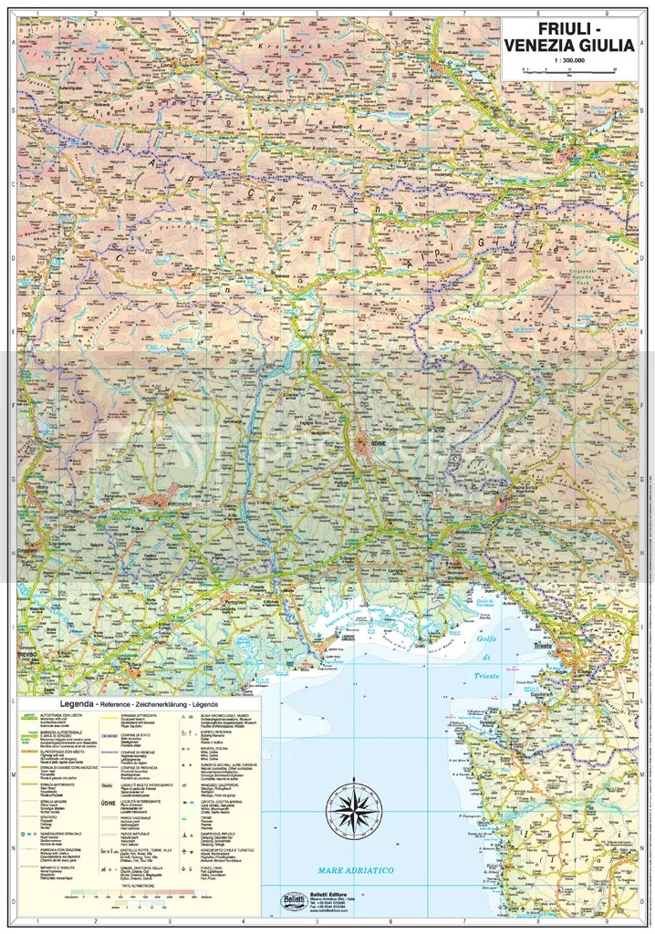 FRIULI VENEZIA GIULIA CARTINA STRADALE REGIONALE 1300000