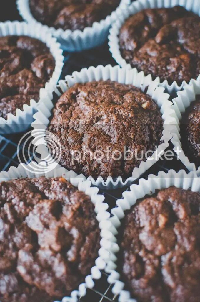 Baked Chocolate Cream Cheese Walnut Muffins