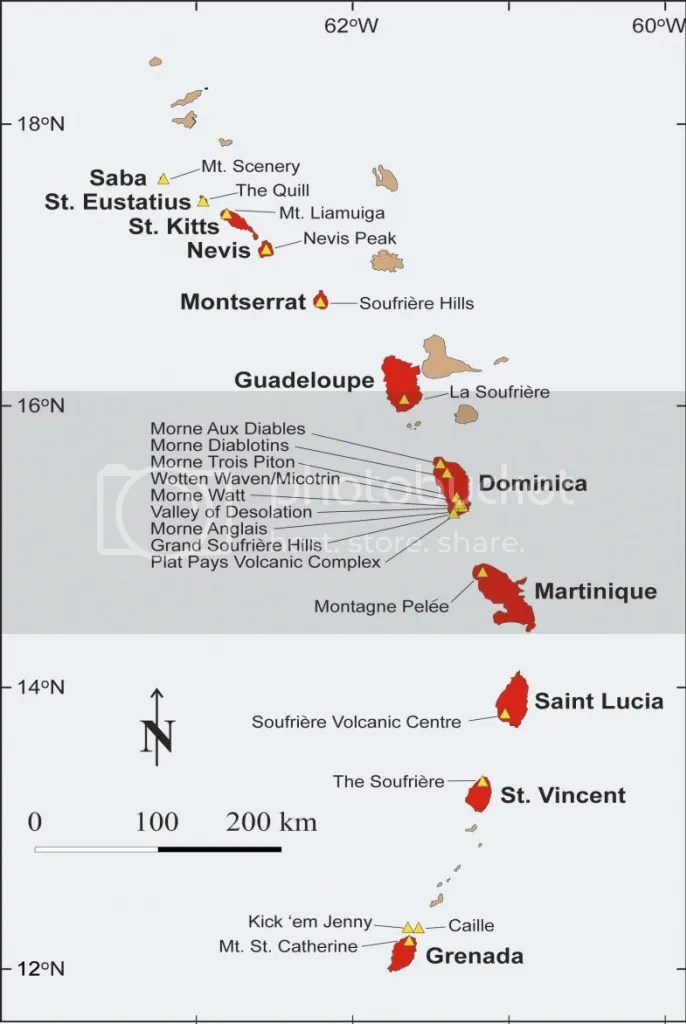 The Caribbean Arc Volcanoes