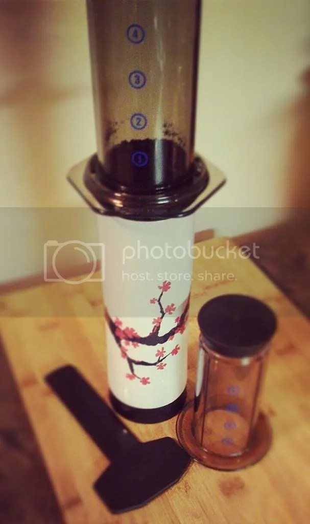 my morning coffee on the run, using the AeroPress
