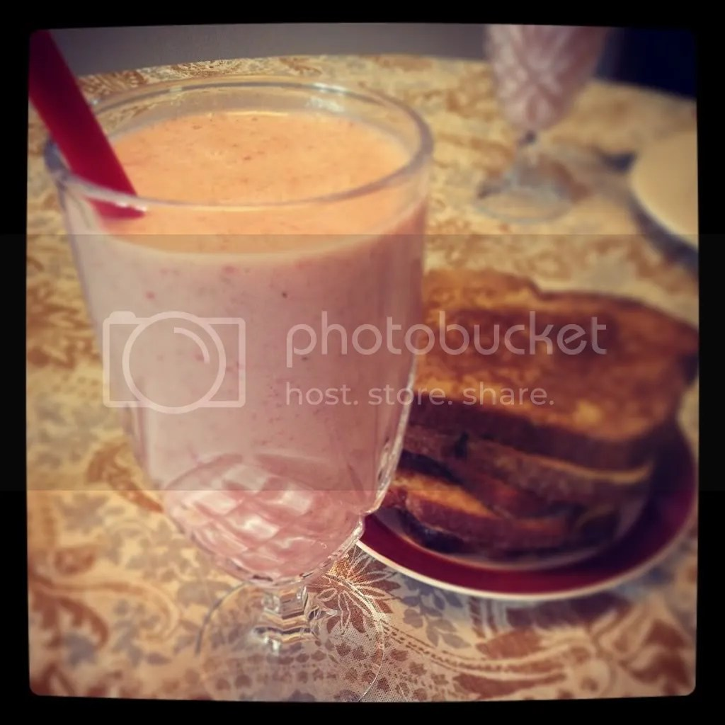Breakfast of Champions: strawberry smoothie and French toast