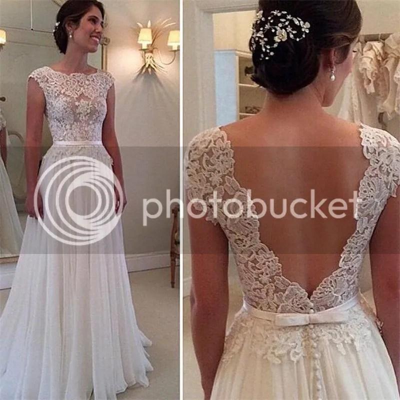 2015 Backless Lace Chiffon Wedding dresses ALine Cap Sleeve Bridal Gowns Custom