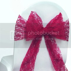 Chair Covers With Pink Bows Patio Repair Wedding Lace Bow Sash For Cover Sashes