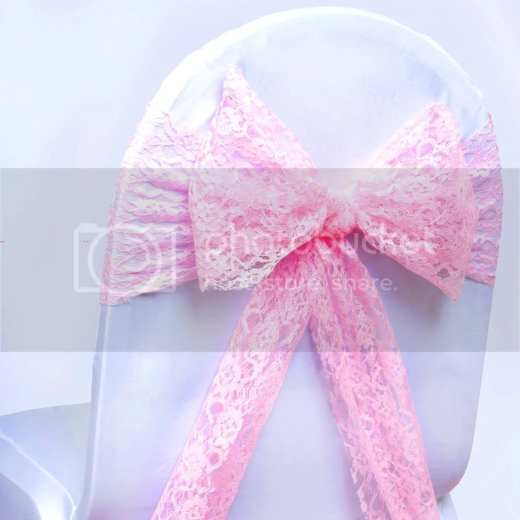 chair covers with pink bows sears high chairs wedding lace bow sash for cover sashes