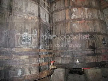 Old fermentation vats at R. Lopez de Heredia Viña Tondonia, amongst the most successful producers and marketers of traditional Spanish wine.
