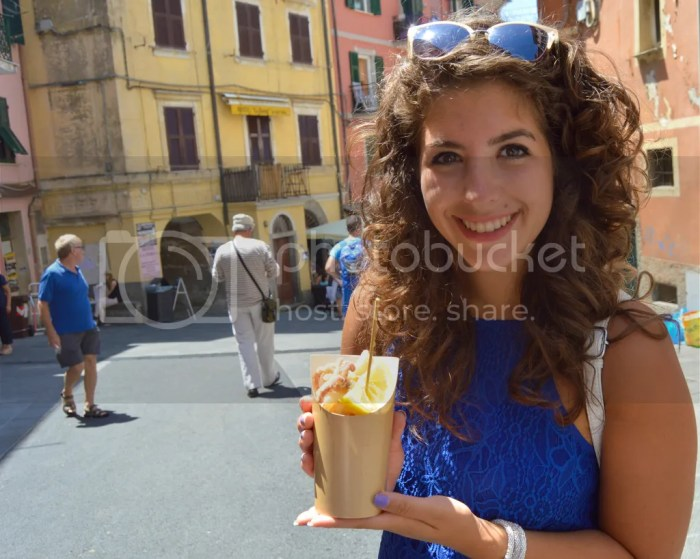 Riomaggiore, Cinque Terre. Fried seafood from Il Pescato Cucinato