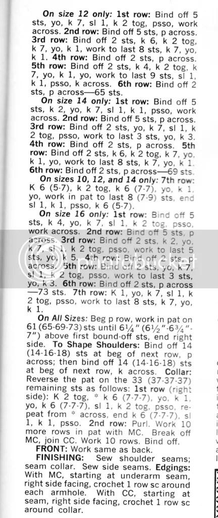 chloeheartsowls.com vintage knitting pattern 1960s chevron shell