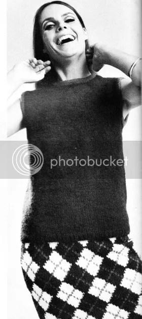 chloeheartsowls.com vintage knitting pattern 1960s shell and argyle knit skirt