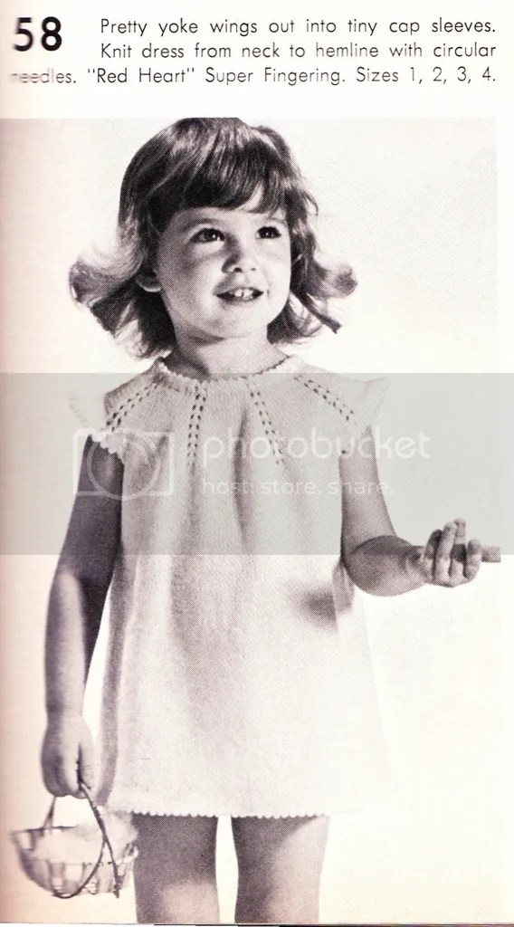 chloeheartsowls.com vintage knitting pattern 1960s little girls yoked dress
