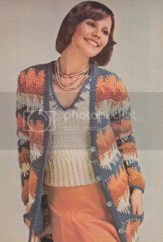 Vintage Crochet Pattern 1970s Sweater And Scarf Set Chloe Hearts
