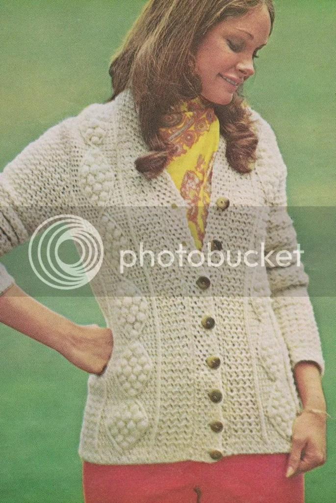 chloeheartsowls.com vintage crochet pattern - 1970s aran cardigan
