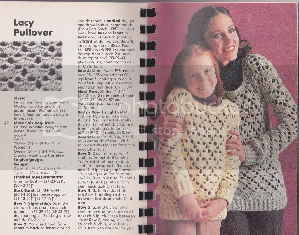 chloeheartsowls.com 1970s lacy pullover vintage crochet pattern