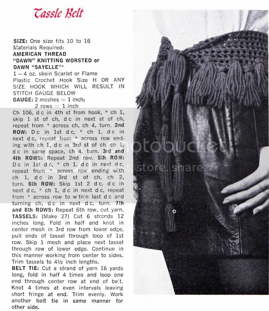 1960s tassel belt pattern