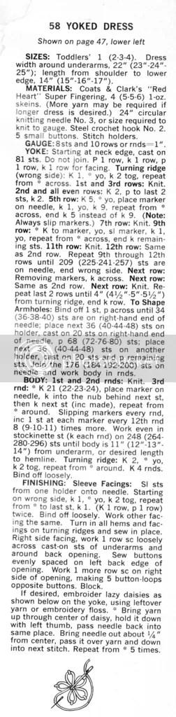 chloeheartsowls.com vintage knitting pattern 1960s little girls yoked dress