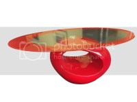 OVAL GLASS TOPPED COFFEE TABLE CONTEMPORARY RED UNUSUAL | eBay