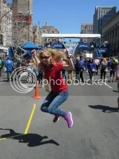 Jumping for joy at the Boston Marathon Finish Line