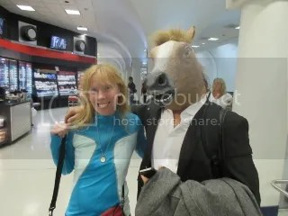 Me with the Horse Head Guy at Charlotte Airport
