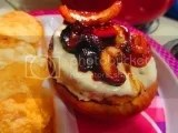 An Open-Faced BBQ Mushroom & Onion Veggie Burger on an Amy's Kitchen Gluten Free Sandwich Round