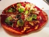 Gluten Free BBQ Brussels Sprouts Pizza made with Master's Hand BBQ With Integrity (Medium) BBQ Sauce