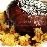 Honey Balsamic Glazed Portobello Mushroom Cap with Couscous Cakes made from Biatalia Gluten Free Couscous di Mais