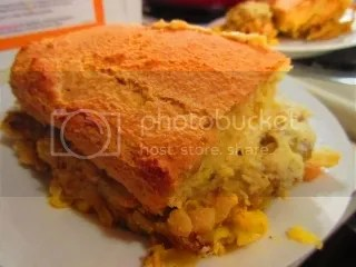 gf Jules Cornbread (prepared) on top of the Gluten Free and Dairy Free Cheddar Chili Cornbread Pasta Bake