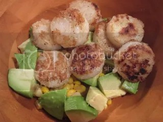 Fresh Corn with Avocado, Onion, and Vegan Spiced Scallops