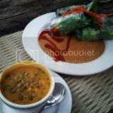 Caffe Coco's Thai Pumpkin Curry Soup and Vietnamese Summer Rolls with Organic Greens and Peanut Sauce