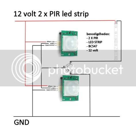 ledstrip met twee sensoren en een bc547