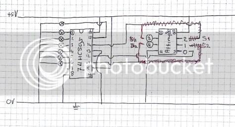 getekend schema Attiny, 74hc595 en leds