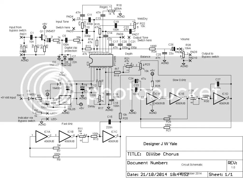DiVibe Chorus Effect Schematic Photo by ashdalestudio