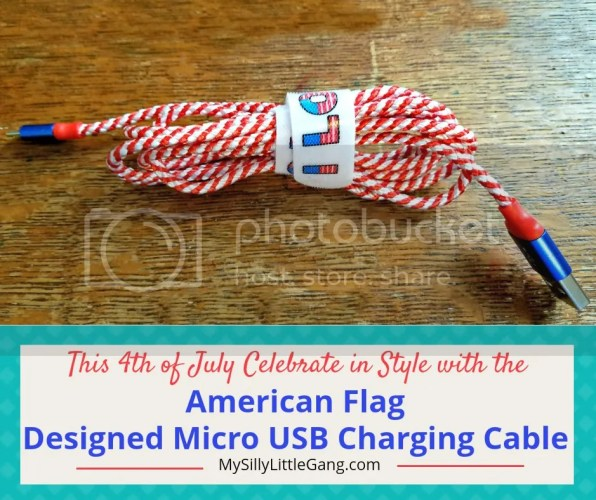 Celebrate the 4th of July in Style w/this American Flag Micro USB Charging Cable