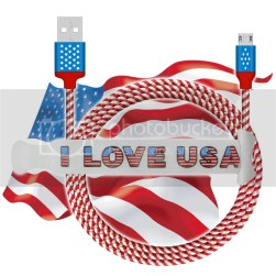 4th of July American Flag Micro USB Charging Cable