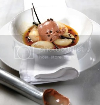 Gaea's Baked Pears with Chocolate Ice Cream and Olive Oil