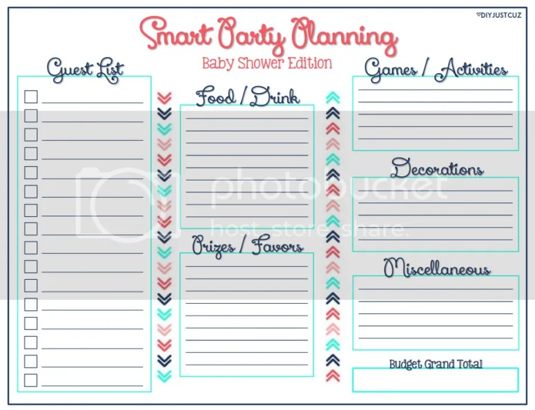 Read how to use Smart Party Planning and DIY projects to throw a baby shower on a budget - without sacrificing style. Free printables included! -- diyjustcuz.com