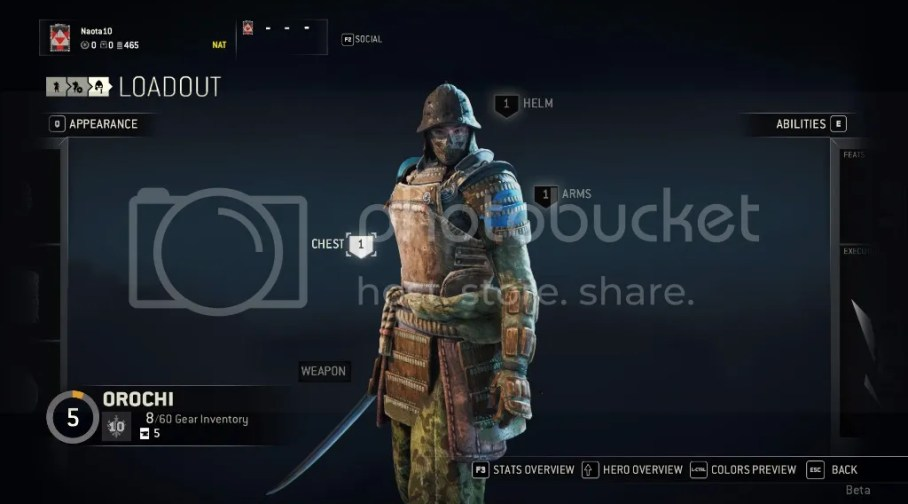 Loadout customization screen