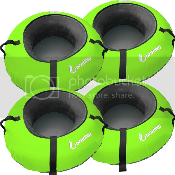 4 Heavy Duty Snow Sled Tubes Green Cover. Huge Rubber