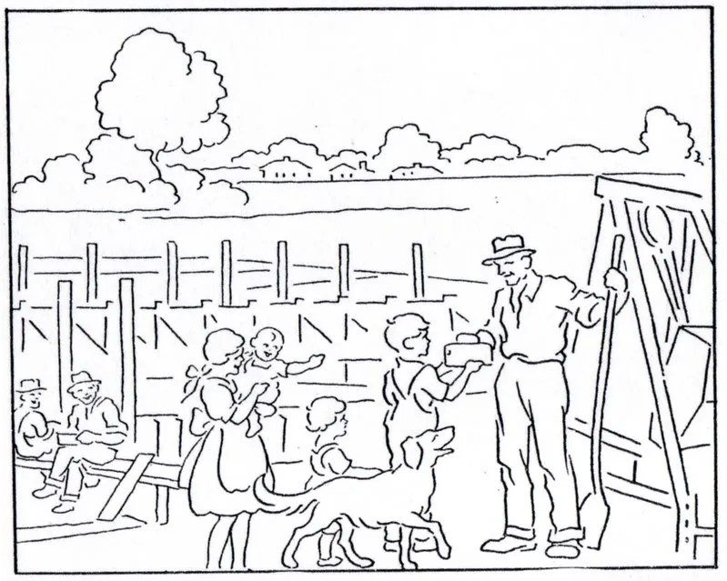 """Mormon History Coloring Book, 1923: August, """"Temple"""