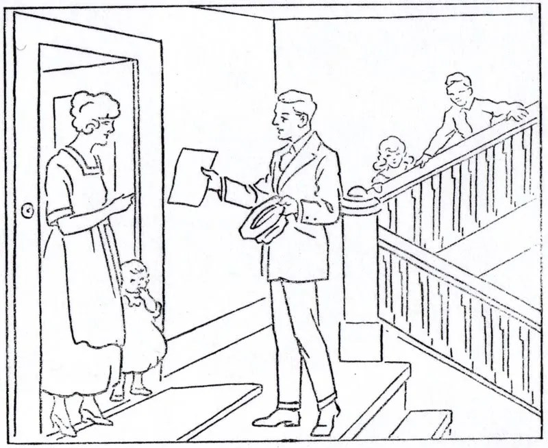 """Mormon History Coloring Book, 1923: July, """"Missionary"""